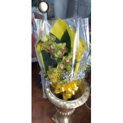 Ramo di orchidea e mimosa